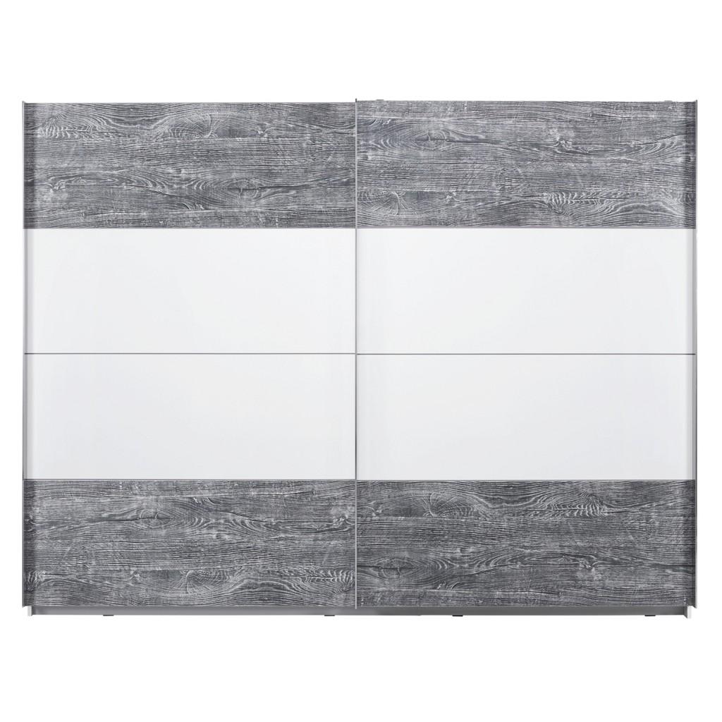 Schwebetürenschrank in Weiß/Grau