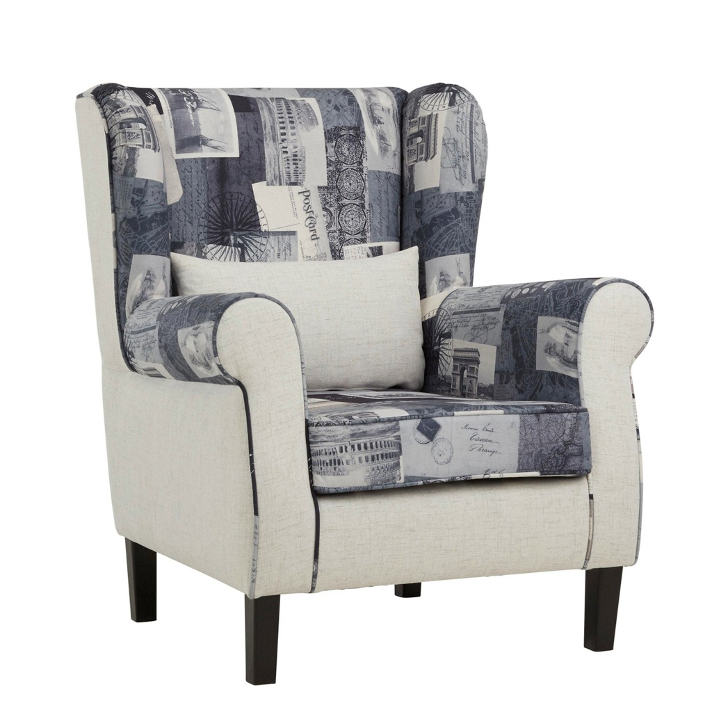 Sessel in Grau/Natur aus Buche