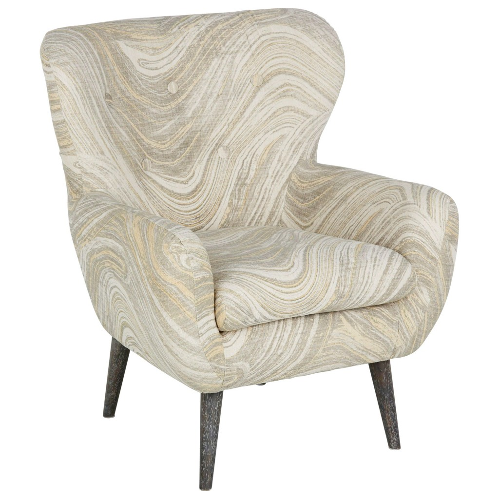 Sessel in Grau/Weiß/gelb