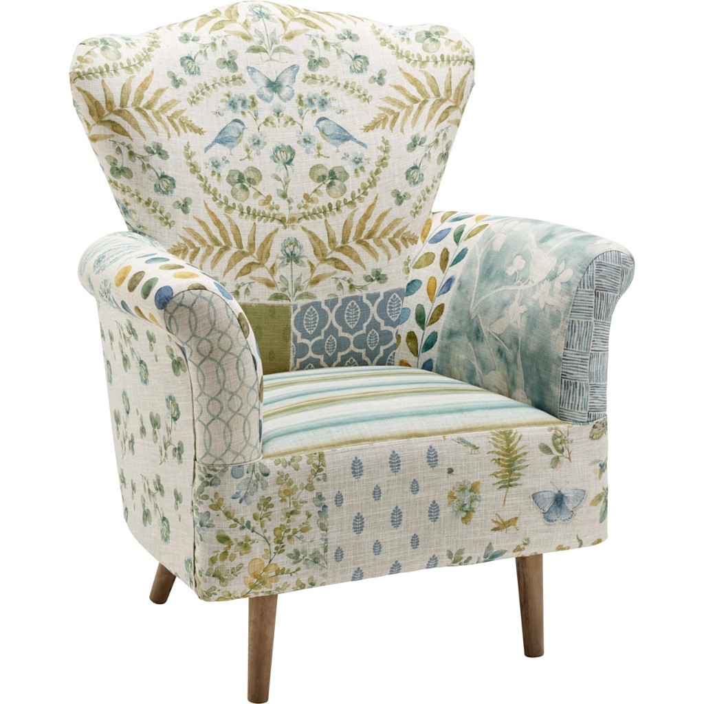 Sessel in Grün/blau/beige