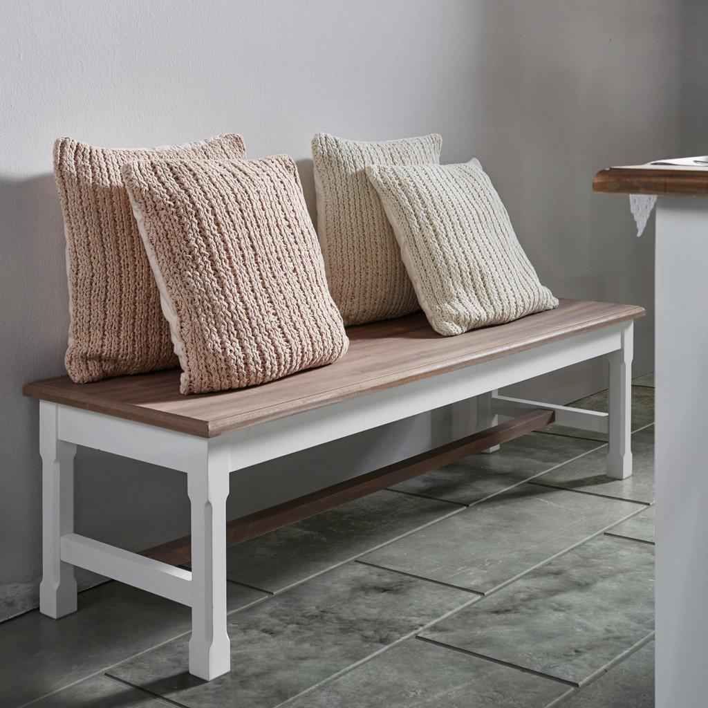 Sitzbank in Weiß mit Holz Cookie