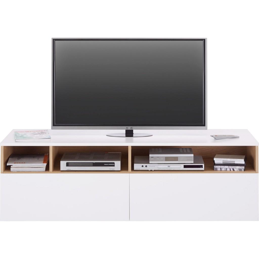 TV-Element in Weiß/Eiche